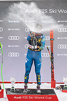 29th December 2020; Stelvio, Bormio, Italy; FIS World Cup Super for Men; winner Ryan Cochran Siegle of the USA celebrates with Champagne during the winners ceremony
