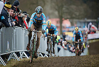Wout Van Aert (BEL) fighting back (past his countrymen) after crashing and some mechanicals<br /> <br /> Elite Men's race<br /> <br /> 2015 UCI World Championships Cyclocross <br /> Tabor, Czech Republic