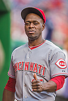 20 May 2014: Cincinnati Reds outfielder Roger Bernadina stands in the dugout during a game against the Washington Nationals at Nationals Park in Washington, DC. The Nationals defeated the Reds 9-4 to take the second game of their 3-game series. Mandatory Credit: Ed Wolfstein Photo *** RAW (NEF) Image File Available ***