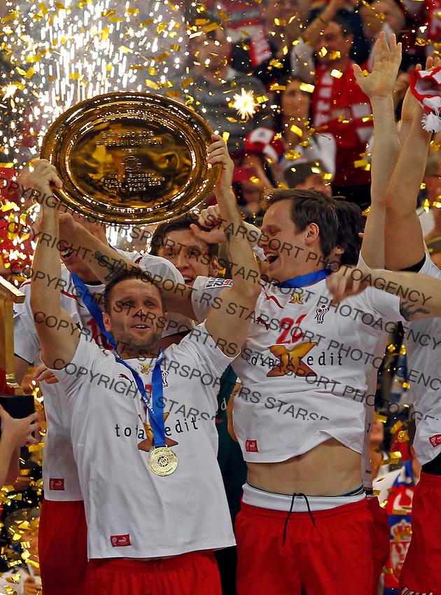 Denmark handball team players Lars Christiansen and Kasper Sondergaard Sarup celebrate victory in men`s EHF EURO 2012 handball championship final game against Serbia in Belgrade, Serbia, Sunday, January 29, 2011.  (photo: Pedja Milosavljevic / thepedja@gmail.com / +381641260959)