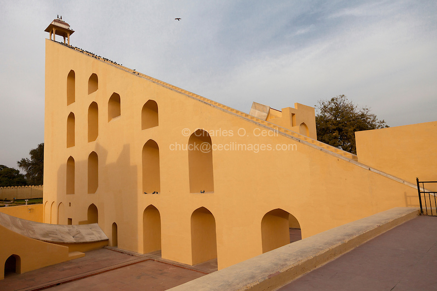 Jaipur, Rajasthan, India.  Jantar Mantar, an 18th-century Site for Astronomical Observations, now a World Heritage Site.  This structure is the Vrihat Samrat Yantra, a 90-foot-high sundial that can give the time to an accuracy of two seconds.