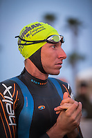Pete Jacobs preparing for the swim in the Accenture Ironman California 70.3 in Oceanside, CA on March 29, 2014.