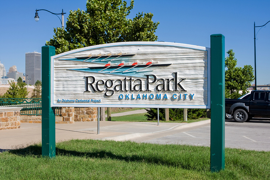 Oklahoma City, Oklahoma, USA.  Regatta Park Sign.