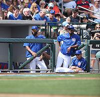 Jason Heyward (left), Dexter Fowler (right), Javier Baez (seated) - Chicago Cubs 2016 spring training (Bill Mitchell)