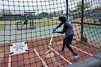 Shortstop Ronny Mauricio (2) of the Columbia Fireflies takes batting practice before a game against the Charleston RiverDogs on Friday, April 5, 2019, at Segra Park in Columbia, South Carolina. Charleston won, 6-1. (Tom Priddy/Four Seam Images)