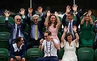 July 11th 2021, Wimbledon, London England; 2021 Wimbledon Championship  Wheelchair Mens Final between Gordon Reid GBR and Joachim Gerard , Belgium. HRH The Duchess of Cambridge , performing the Mexican Wave in the Royal Box