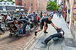 © Joel Goodman - 07973 332324 . 23/07/2011 . Manchester , UK . Anti-fascists and EDL supporters fight on Canal Street in Manchester's Gay Village . The EDL's Gay Division cancelled a protest, planned for 23rd July 2011 in Manchester's Gay Village . Despite the cancellation, two supporters of the protest and anti-fascist counter-protesters attended and a fight ensued . Photo credit : Joel Goodman