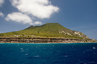 The Quill (volcano) as seen from the sea, Statia (St. Eustatius), Caribbean.
