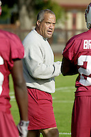 Peter McCarty coaches on the first day of spring practice on April 3, 2002 at Stanford.<br />Photo credit mandatory: Gonzalesphoto.com