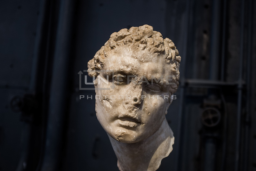 Male head, copy after VI century greek model. Hall of the Machines. Rome, Italy. Mar. 07, 2015