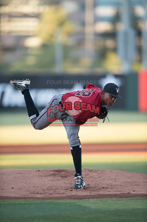 AZL Diamondbacks starting pitcher Alex Valdez (32) follows through on his delivery during an Arizona League game against the AZL Angels at Tempe Diablo Stadium on June 27, 2018 in Tempe, Arizona. The AZL Angels defeated the AZL Diamondbacks 5-3. (Zachary Lucy/Four Seam Images)