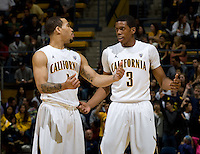 Justin Cobbs of California talks with Tyrone Wallace of California during the game against CSUB at Haas Pavilion in Berkeley, California on November 11th, 2012.  California defeated CSUB, 78-65.
