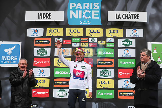 Sergio Andre Higuita (COL) EF Pro Cycling retains the young riders White Jersey on the podium at the end of Stage 3 of the 78th edition of Paris-Nice 2020, running 212.5km from Chalette-sur-Loing to La Chatre, France. 10th March 2020.<br /> Picture: ASO/Fabien Boukla | Cyclefile<br /> All photos usage must carry mandatory copyright credit (© Cyclefile | ASO/Fabien Boukla)