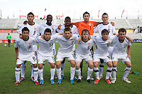 The US U-17 Men's team lines up before the game at the CONCACAF Men's Under 17 Championship at Catherine Hall Stadium in Montego Bay, Jamaica. The United States defeated Cuba, 3-1.