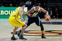 July 12, 2016: LORENZO BONAM (33) of the Utah Utes controls the ball during game 1 of the Australian Boomers Farewell Series between the Australian Boomers and the American PAC-12 All-Stars at Hisense Arena in Melbourne, Australia. Sydney Low/AsteriskImages.com