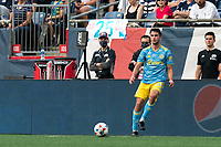 FOXBOROUGH, MA - AUGUST 8: Leon Flach #31 of Philadelphia Union passes the ball during a game between Philadelphia Union and New England Revolution at Gillette Stadium on August 8, 2021 in Foxborough, Massachusetts.