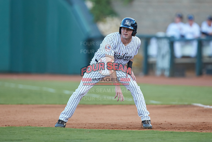 Jake Farrell (72) of the Pulaski Yankees takes his lead off of first base against the Burlington Royals at Calfee Park on August 31, 2019 in Pulaski, Virginia. The Yankees defeated the Royals 6-0. (Brian Westerholt/Four Seam Images)