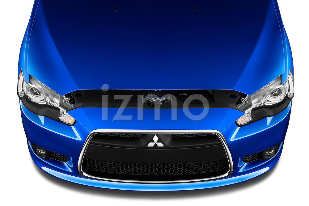 High angle view of hood and engine on a 2012 Mitsubishi Lancer Sportback GT