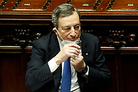 The Italian Prime Minister Mario Draghi drinking a glass of water at the Chamber of Deputies during the discussion and vote of confidence in the new Government. Rome (Italy), February 18th 2021<br /> Photo Samantha Zucchi Insidefoto
