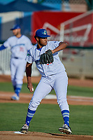 Ogden Raptors starting pitcher Alfredo Tavarez (30) delivers a pitch to the plate against the Orem Owlz at Lindquist Field on June 22, 2019 in Ogden, Utah. The Owlz defeated the Raptors 7-4. (Stephen Smith/Four Seam Images)