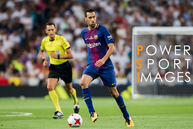 Sergio Busquets Burgos of FC Barcelona in action during their Supercopa de Espana Final 2nd Leg match between Real Madrid and FC Barcelona at the Estadio Santiago Bernabeu on 16 August 2017 in Madrid, Spain. Photo by Diego Gonzalez Souto / Power Sport Images