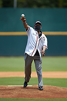 "Charles ""Coot"" Willis of the Birmingham Black Barons throws out the ceremonial first pitch prior to the start of the 2020 East Coast Pro Showcase at the Hoover Met Complex on August 2, 2020 in Hoover, AL. (Brian Westerholt/Four Seam Images)"