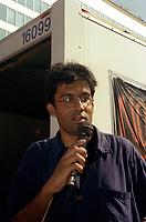 Jaggi Singh<br />  in a<br /> demonstration circa 2003<br /> <br /> FILE PHOTO : Agence quebec Presse
