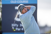 3rd October 2021; The Old Course, St Andrews Links, Fife, Scotland; European Tour, Alfred Dunhill Links Championship, Fourth round; Deyen Lawson of Australia tees off on the third hole during the final round of the Alfred Dunhill Links Championship on the Old Course, St Andrews