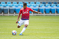 SAN JOSE, CA - APRIL 24: Bryan Acosta #8 of FC Dallas passes the ball during a game between FC Dallas and San Jose Earthquakes at PayPal Park on April 24, 2021 in San Jose, California.