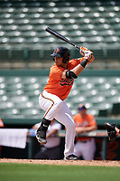 Baltimore Orioles first baseman JC Escarra (72) at bat during a Florida Instructional League game against the Pittsburgh Pirates on September 22, 2018 at Ed Smith Stadium in Sarasota, Florida.  (Mike Janes/Four Seam Images)