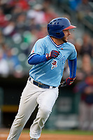 Buffalo Bisons shortstop Jonathan Diaz (4) runs to first base during a game against the Pawtucket Red Sox on May 19, 2017 at Coca-Cola Field in Buffalo, New York.  Buffalo defeated Pawtucket 7-5 in thirteen innings.  (Mike Janes/Four Seam Images)