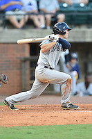Pulaski Yankees left fielder Nathan Mikolas (33) swings at a pitch during a game against the Greeneville Astros on July 11, 2015 in Greeneville, Tennessee. The Yankees defeated the Astros 9-3. (Tony Farlow/Four Seam Images)