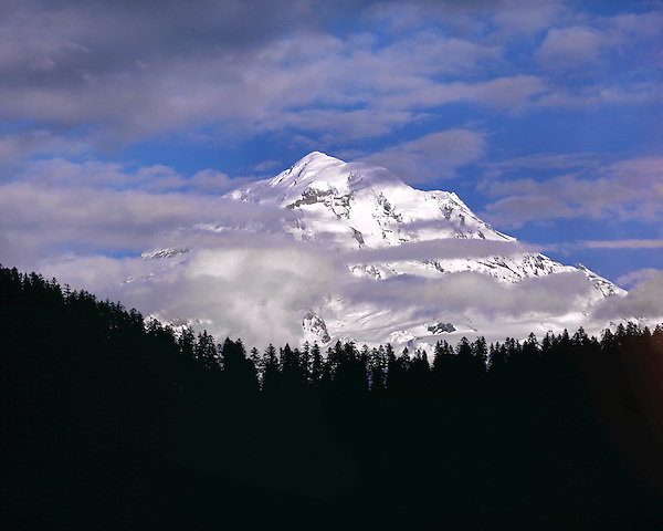 Mount Rainier rising above the clouds, Mount Rainier National Park, Seattle, Washington, USA. .  John offers private photo tours throughout the western USA, especially Colorado. Year-round.