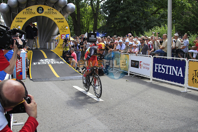 Belgian National Champion Philippe Gilbert (BEL) BMC Racing Team powers away to start the Prologue of the 99th edition of the Tour de France 2012, a 6.4km individual time trial starting in Parc d'Avroy, Liege, Belgium. 30th June 2012.<br /> (Photo by Eoin Clarke/NEWSFILE)