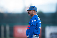 Ogden Raptors hitting coach Cordell Hipolito (37) during a Pioneer League game against the Orem Owlz at Home of the OWLZ on August 24, 2018 in Orem, Utah. The Ogden Raptors defeated the Orem Owlz by a score of 13-5. (Zachary Lucy/Four Seam Images)