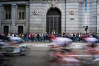 peloton speeding by in the Madrid local laps<br /> <br /> Stage 21: Fuenlabrada to Madrid (107km)<br /> La Vuelta 2019<br /> <br /> ©kramon