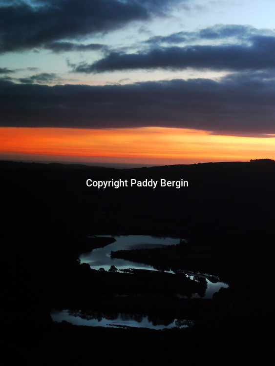 The head of the river Rhydol which snakes along the Rhydol valley at sunset and eventually, like the river Ystwyth, flows into the sea at the seaside town of Aberystwyth, Ceredigion, West Wales.<br /> <br /> Stock Photo by Paddy Bergin