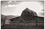 The old Moulton Barn stands on Mormon Row outside Jackson Hole, Wyoming