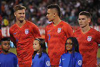 EAST RUTHERFORD, NJ - SEPTEMBER 6: Walker Zimmerman #4 of the United States, Aaron Long #3 of the United States, Wil Trapp #6 of the United States during the presentation of the team during a game between Mexico and USMNT at MetLife Stadium on September 6, 2019 in East Rutherford, New Jersey.