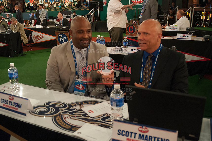 Milwaukee Brewers Representatives Greg Vaughn and Scott Martens during the MLB Draft on Thursday June 05,2014 at Studio 42 in Secaucus, NJ.   (Tomasso DeRosa/ Four Seam Images)