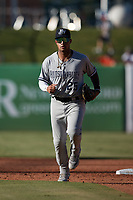 Hudson Valley Renegades center fielder Everson Pereira (25) jogs off the field between innings of the game against the Greensboro Grasshoppers at First National Bank Field on September 2, 2021 in Greensboro, North Carolina. (Brian Westerholt/Four Seam Images)