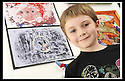 22/06/2009  Copyright  Pic : James Stewart.25_cross_currents.DELTA STUDIOS :: CROSS CURRENTS EXHIBITION :: JOSH HALE (7) FROM KINNAIRD PRIMARY, WITH ONE OF HIS PAINTINGS :: .James Stewart Photography 19 Carronlea Drive, Falkirk. FK2 8DN      Vat Reg No. 607 6932 25.Telephone      : +44 (0)1324 570291 .Mobile              : +44 (0)7721 416997.E-mail  :  jim@jspa.co.uk.If you require further information then contact Jim Stewart on any of the numbers above.........