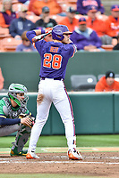 Clemson Tigers left fielder Seth Beer (28) awaits a pitch during a game against the Notre Dame Fighting Irish at Doug Kingsmore Stadium on March 11, 2017 in Clemson, South Carolina. The Tigers defeated the Fighting Irish 6-5. (Tony Farlow/Four Seam Images)