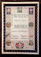 An Arts and Crafts illuminated picture stating the times for prayer and meals at Madresfield Court as well as the telegram address and telephone number