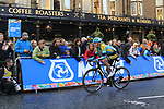 Vadim Pronskiy (KAZ) climbs Parliment Street on the Harrogate circuit during the Men U23 Road Race of the UCI World Championships 2019 running 186.9km from Doncaster to Harrogate, England. 27th September 2019.<br /> Picture: Eoin Clarke | Cyclefile<br /> <br /> All photos usage must carry mandatory copyright credit (© Cyclefile | Eoin Clarke)