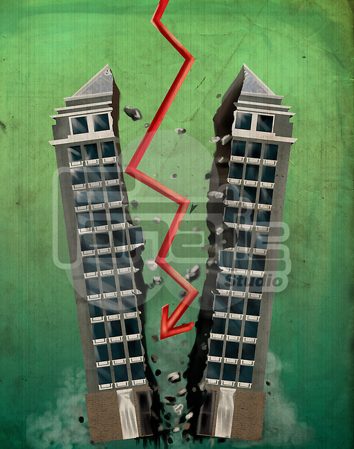 Arrow sign breaking office building into two representing the concept of bankruptcy