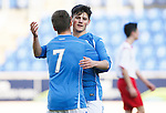 St Johnstone v Stranraer...01.11.15   Little Big Shot Youth Cup 3rd Round, McDiarmid Park, Perth<br /> George Hunter celebrates his first goal with Connor McLaren<br /> Picture by Graeme Hart.<br /> Copyright Perthshire Picture Agency<br /> Tel: 01738 623350  Mobile: 07990 594431