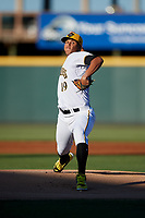 Bradenton Marauders starting pitcher Luis Escobar (19) delivers a pitch during a game against the Tampa Tarpons on April 25, 2018 at LECOM Park in Bradenton, Florida.  Tampa defeated Bradenton 7-3.  (Mike Janes/Four Seam Images)