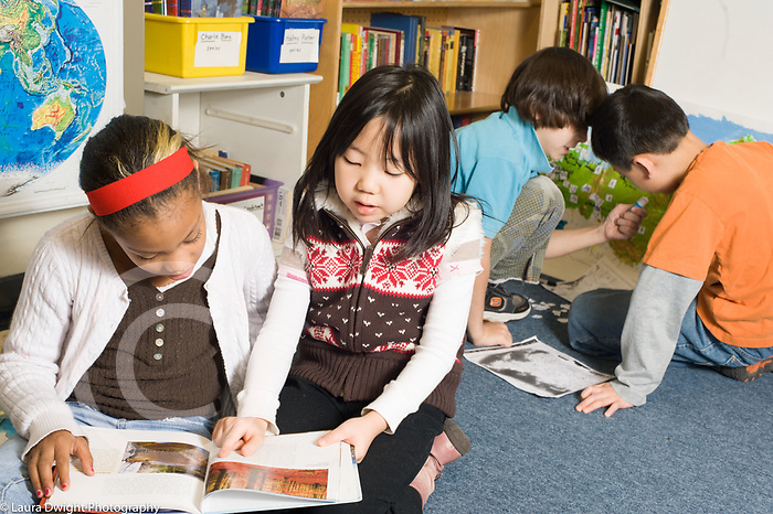 Education Elementary School New York grade 3 history geography boys and girls working in pairs on joint projects horizontal