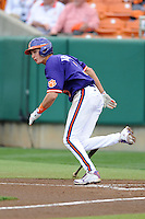 Clemson Tigers shortstop Tyler Krieger #3 runs to first during a game against the Florida State Seminoles at Doug Kingsmore Stadium on March 22, 2014 in Clemson, South Carolina. The Seminoles defeated the Tigers 4-3. (Tony Farlow/Four Seam Images)